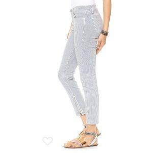 Madewell Skinny skinny ankle zip- railroad stripe